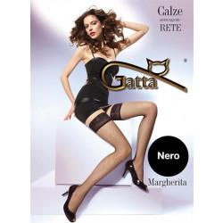 Gatta Margherita - Samodržící síťované punčochy Nero Černá