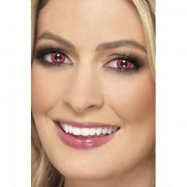 Smiffys Accessoreyes Electro Red - Kontaktní čočky Červená 2 čočky