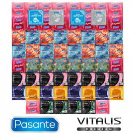 Vánoční Balíček hřejivých, chladivých a svítících kondomů - 62 kondomů Pasante a Vitalis Premium + 4 lubrikační gely Pasante jako dárek