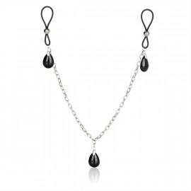 California Exotics Nonpiercing Nipple Chain Jewelry Onyx - Ozdoby na bradavky