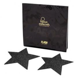 Bijoux Indiscrets Flash Star Čierna - Ozdoby na bradavky