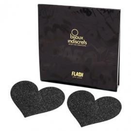 Bijoux Indiscrets Flash Heart Čierna - Ozdoby na bradavky