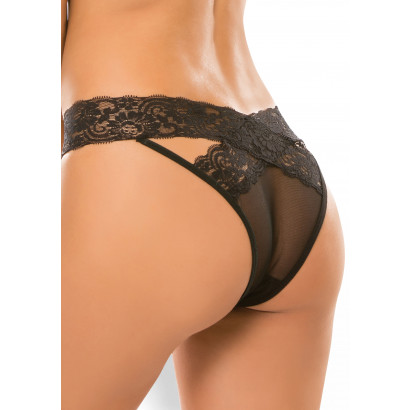 Allure Crotchless Desire Panty Black
