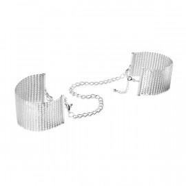 Bijoux Indiscrets Desir Metallique Mesh Handcuffs Silver - Silver Decorative Metal Handcuffs
