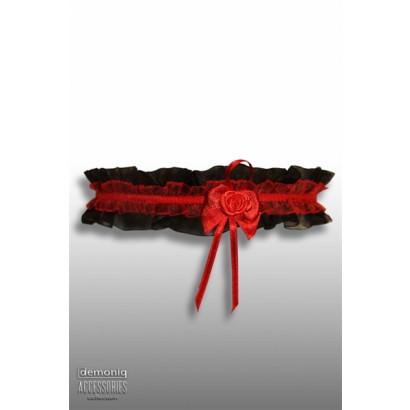 Demoniq Lace Garter with Rose Black